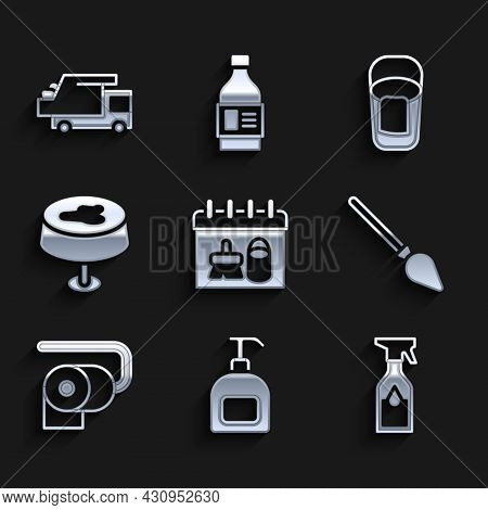 Set Cleaning Calendar, Bottle Of Liquid Soap, Spray Bottle, Handle Broom, Toilet Paper Roll, Stain O