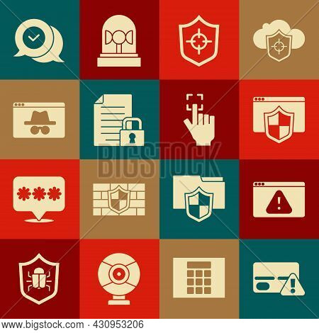 Set Credit Card, Browser With Exclamation Mark, Shield, Shield, Document And Lock, Incognito Window,