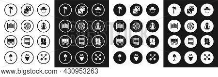 Set Western Cowboy Hat, Old Wooden Wheel, Saloon Door, Tomahawk Axe, Camping Lantern, Game Dice, Wan