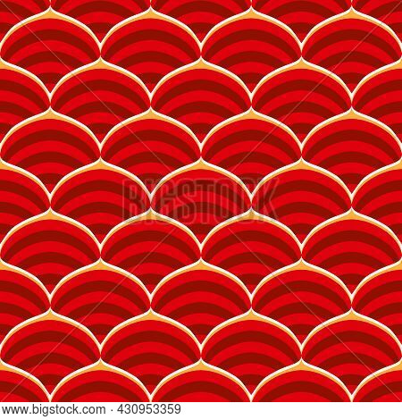 Red Ornamental Orient Wavy Seamless Background. Traditional Japanese Or Chinese Style, Pattern. Fish