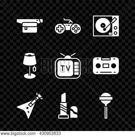 Set Waist Bag Of Banana, Gamepad, Vinyl Player, Electric Bass Guitar, Lipstick, Lollipop, Floor Lamp