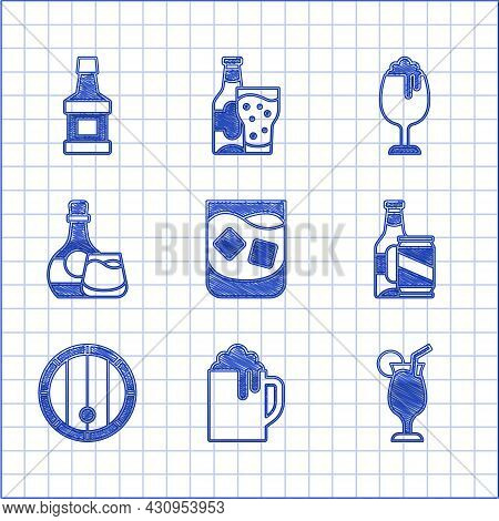 Set Glass Of Whiskey, Wooden Beer Mug, Cocktail, Beer Bottle And Can, Barrel, Whiskey Glass, And Ico