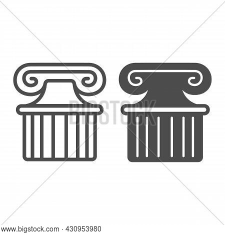 Ancient Greek Column Line And Solid Icon, Theater Concept, Part Of Antique Greek Pillar Vector Sign