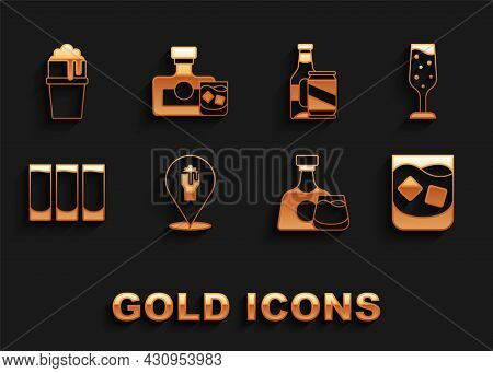 Set Alcohol Or Beer Bar Location, Glass Of Champagne, Whiskey, Whiskey Bottle And Glass, Shot, Beer