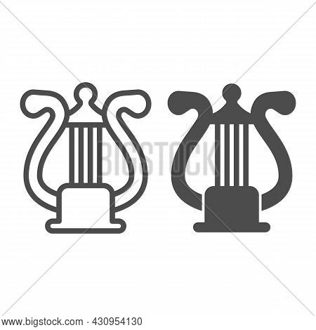 Lyre With Strings, Harp Line And Solid Icon, Musical Instruments Concept, Lira String Istrument Vect