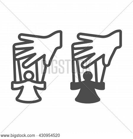 Hand Of The Puppeteer And Marionette Line And Solid Icon, Theater Concept, Puppet Theatre Vector Sig
