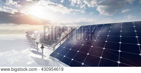 Solar photovoltaic panels array system. Clean and sustainable energy technology - power and electricity. 3D illustration