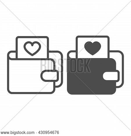 Wallet And Card With Heart Line And Solid Icon, Dating Concept, Purse With Picture Of Heart Vector S