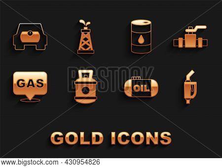 Set Propane Gas Tank, Metallic Pipes And Valve, Gasoline Pump Nozzle, Oil Storage, Location Station,