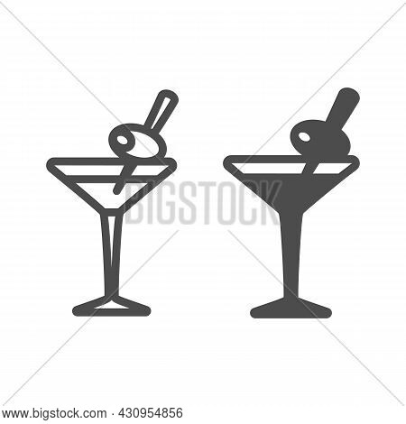 Glass Of Martini With Olive On Toothpick Line And Solid Icon, Bar Concept, Vermouth Cocktail Vector