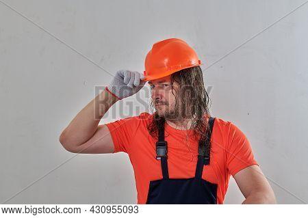 Construction Guy Having Fun At Construction Site