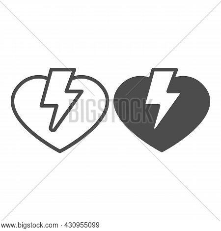 Heart And Lightning Line And Solid Icon, Dating Concept, Love Thunder Vector Sign On White Backgroun