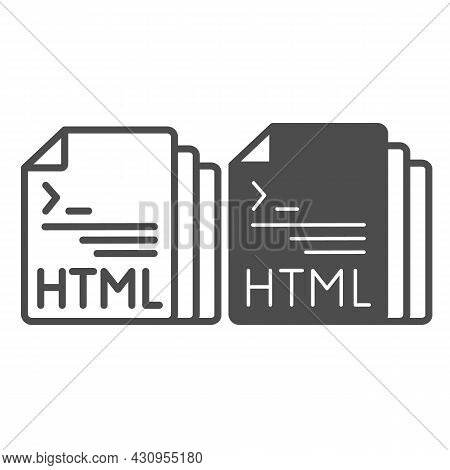 Html Code Document Files Line And Solid Icon, Programming Concept, Html Doc Vector Sign On White Bac