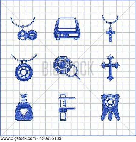 Set Gem Stone, Calliper Or Caliper And Scale, Tooth With Diamond, Christian Cross, Bag Gems, Pendant