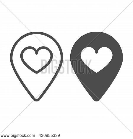 Location Map Pin With Heart Line And Solid Icon, Dating Concept, Favourite Place Vector Sign On Whit