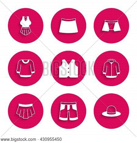 Set Waistcoat, Short Or Pants, Man Hat, Hoodie, Skirt, Sweater, Men Underpants And Undershirt Icon.