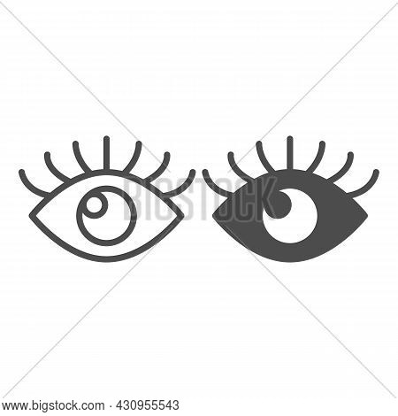 Open Eye With Eyelashes, Look Line And Solid Icon, Human Body Concept, Sight Vector Sign On White Ba
