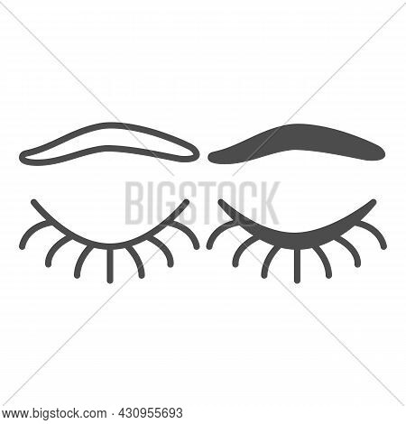 Closed Eye With Eyelashes And Eyebrow Line And Solid Icon, Human Body Concept, Closed Eyelid Vector