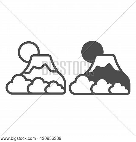 Mount Fuji With Fog, Sun And Snow, Volcano Line And Solid Icon, Asian Culture Concept, Mountain Vect