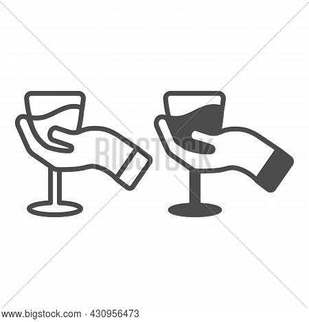 Hand With Glass Of Wine Line And Solid Icon, Winery Concept, Wineglass In Hand Vector Sign On White