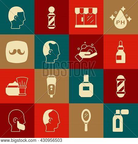 Set Aftershave With Atomizer, Classic Barber Shop Pole, Oil Bottle, Barbershop Building, Baldness, H