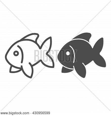 Fish, Goldfish, Aquarium Tropical Fish Line And Solid Icon, Sea Life Concept, Carp Vector Sign On Wh