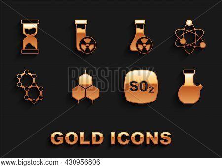 Set Chemical Formula, Atom, Test Tube, Sulfur Dioxide So2, Molecule, With Toxic Liquid, Old Hourglas
