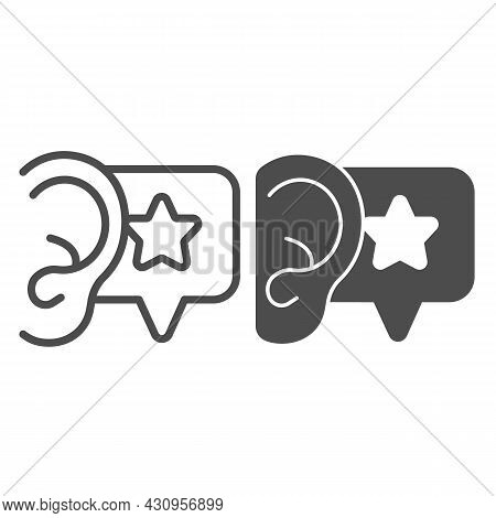Ear, Dialogue With Star, Recommendation Line And Solid Icon, Smm Concept, Star In Speech Bubble Vect