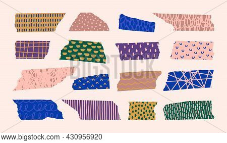 Washi Tape Pieces Set With Different Hand Draw Patterns In Contemporary Style. Vector Torn Colourful