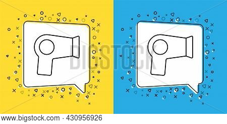 Set Line Hair Dryer Icon Isolated On Yellow And Blue Background. Hairdryer Sign. Hair Drying Symbol.