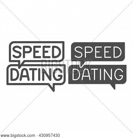 Speed Dating Speech Bubble, Dialogue Box, Emblem Line And Solid Icon, Dating Concept, Logo Vector Si