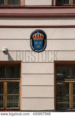 St. Petersburg, Russia - July 09, 2021: Small Coat Of Arms Of Sweden On The Building Of The Consulat