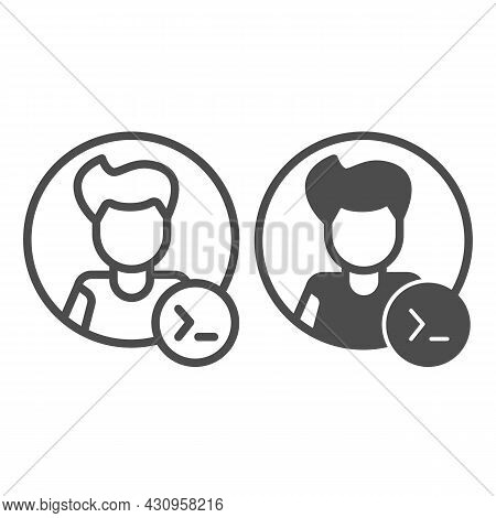 Guy, Command Line In Circle, Backend Developer Line And Solid Icon, Ui Concept, Programmer Vector Si