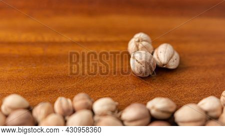 Close-up Photo Image For A Group Of Dry Cardamom With Copy Space For Text. Selective Focus.