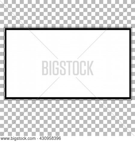 Realistic Black Television Screen On A Isolated Baskgound. Modern Blank Screen Lcd Sign. Realistic T