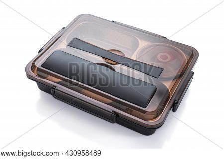 Square Metal Food Trays With Black Cover On White Background.