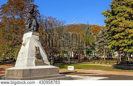 The Best In The Russian Monument Poet Mikhail Yurievich Lermontov In Pyatigorsk, Northern Caucasus,