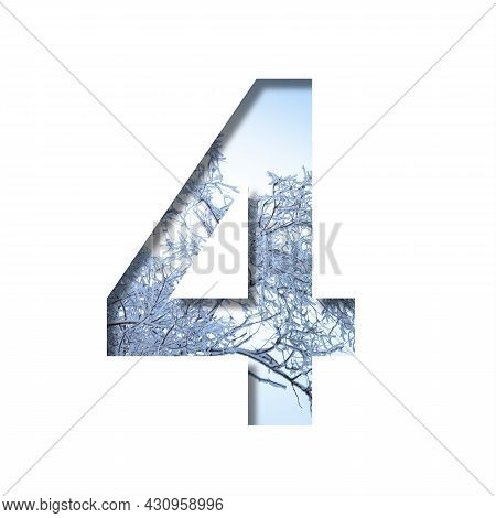 Winter Digits. Digit Four, 4 Cut Out Of Paper On The Background Of The Winter Sky And Snow-covered T