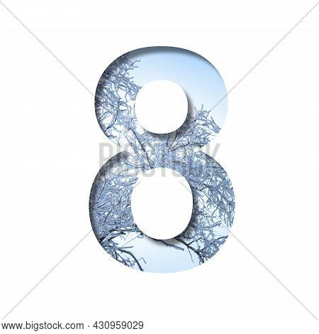 Winter Digits. Digit Eight, 8 Cut Out Of Paper On The Background Of The Winter Sky And Snow-covered