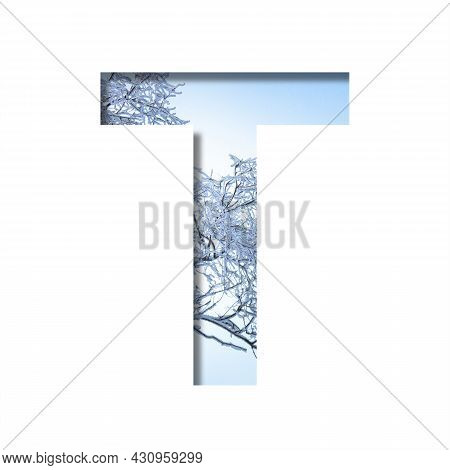 Winter Letters. The Letter T Cut Out Of Paper On The Background Of The Winter Sky And Snow-covered T