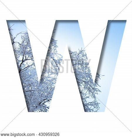 Winter Letters. The Letter W Cut Out Of Paper On The Background Of The Winter Sky And Snow-covered T