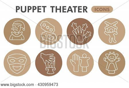 Modern Puppet Theater Infographic Design Template. Marionettes Inphographic Visualization With Eight