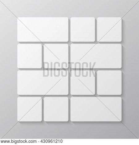 Vector Empty Collage Board Twelve Images, Photo