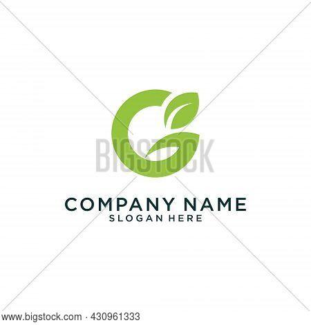 Initial Letter G With Leaf Luxury Logo Design, Green Leaf Logo Template Vector Design.