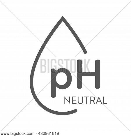 Ph Value Icon. Neutral Balance Infographic. Water Drop Symbol