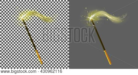 Realistic Magic Wand And Stars Flat Icon. Cartoon Sorcery Stick Isolated On Dark And Transparent Bac