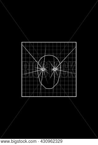 T-shirt And Apparel Design With Abstract Face With Glowing Eyes On Grid Background. Black And White