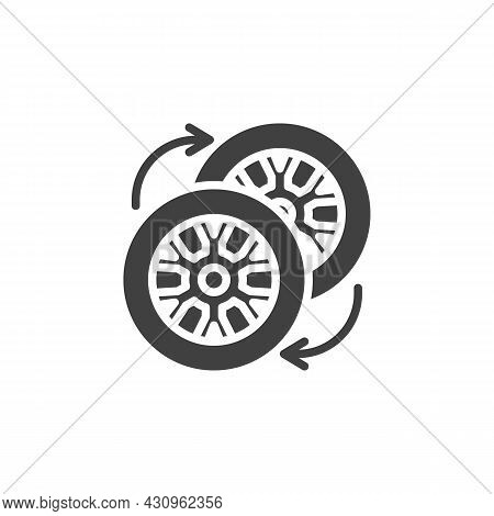 Car Wheel Changing Vector Icon. Filled Flat Sign For Mobile Concept And Web Design. Wheel Tyre Servi