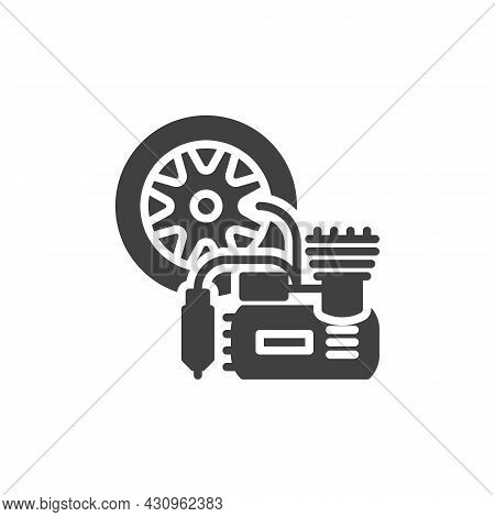 Car Air Compressor Vector Icon. Filled Flat Sign For Mobile Concept And Web Design. Car Tyre Inflato