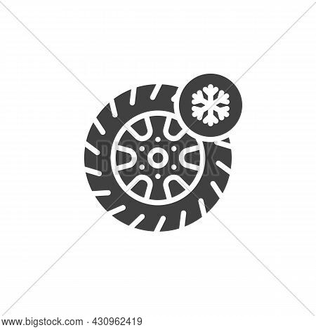 Winter Tyre Vector Icon. Filled Flat Sign For Mobile Concept And Web Design. Car Tyre And Snowflake